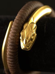 Bracelet 18k Yellow Gold Victorian French Plaited Hair Snake Jewelry Around 1850 (Etsy, ThisisParis)