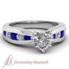 1.35 Ct Heart Shaped Diamond & Blue Sapphire Tapered Engagement Ring H-Color GIA #FascinatingDiamonds #SolitairewithAccents