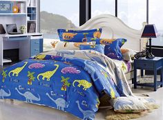 Kids' Duvet Cover Sets - Cliab Dinosaur Bedding Queen Kids Bedding Queen Size 100 Cotton Duvet Cover Set 5 Pieces *** You can get more details by clicking on the image. Cheap Bedding Sets, Kids Bedding Sets, Duvet Bedding Sets, Luxury Bedding Sets, Twin Comforter, Cute Duvet Covers, 100 Cotton Duvet Covers, Duvet Cover Sets, Dinosaur Bedding Full