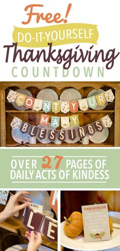 DIY Thanksgiving Countdown Banner- Each page of the printable contains a banner pocket along with the act of kindness card that goes inside the pocket. A great way to make memories as a family and cultivate service and gratitude.