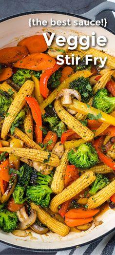 Stir Fry Recipes, Cooking Recipes, Stir Fried Vegetables Recipe, Cooking Vegetables, Easy Vegetable Stir Fry, Vegtable Sides, Vegetarian Recipes, Vegetarian Stir Fry, Gastronomia