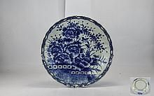 Chinese 19th Century Large Hand Painted Blue and White Charger / Dish, Decorated…