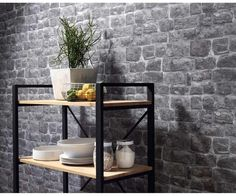 Briana Faux Brick Wallpaper in Grey and Black design by BD Wall Papier peint Briana Faux Brick en design gris … Faux Brick Wallpaper, Look Wallpaper, Plain Wallpaper, Faux Brick Walls, Stone Wallpaper, Modern Wallpaper, Textured Wallpaper, Wall Wallpaper, Stone Walls