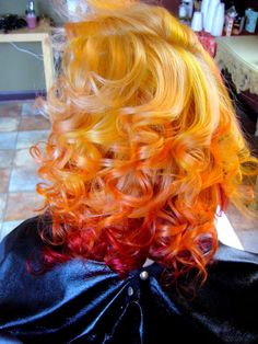Yellow burgundy red ombre dip dyed hair