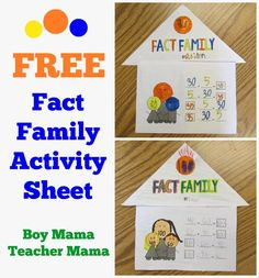FREE Fact Family Activity Sheet