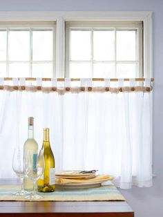 No-sew/easy-off curtains: The buttons are attached with magnets rather than sewn on. Tie hemp cord through each button, then glue a magnet onto the back. Cut burlap into a strip 1-1/2 inches wide and pull off a few of the long threads to fringe the edge. Lay the burlap on top of the curtain and hold it in place with a magnetic button at each tab.