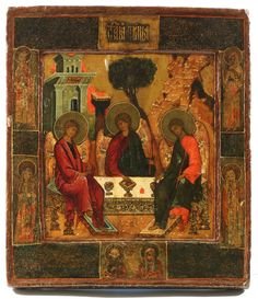 A RUSSIAN ICON OF THE OLD TESTAMENT TRINITY AND SELECTED SAINTS CENTRAL RUSSIA CIRCA 1800 - Egg tempera, gold leaf, and gesso on wood panel. With raised border kovcheg. Two insert splints on the back.