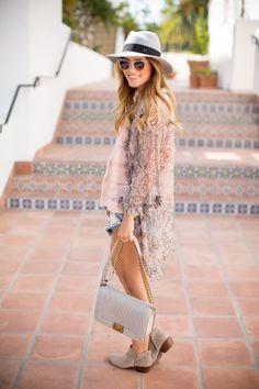 kimono + ankle boots