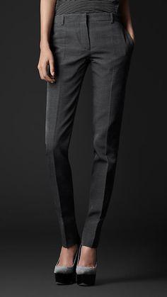 Pantalon ajusté en soie et coton | Burberry