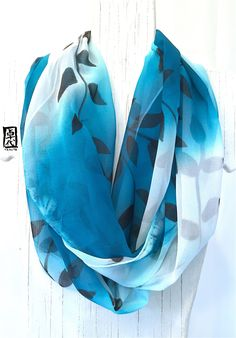 Hand Painted Silk Scarf, Infinity Silk Scarf, Teal Blue and White Infinity Scarf with Black Vine Leaves Scarf