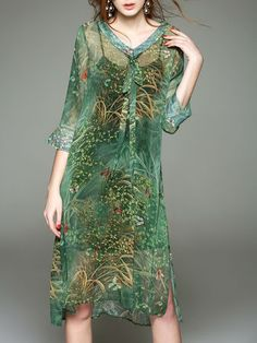 V Neck H-line 3/4 Sleeve Vintage Midi Dress - sheer over slipdress