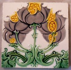 Organic Art Nouveau with a twist,somewhat rare relief moulded design from Craven Dunnill c1906/9 ,tile reference 1233.Volume 3
