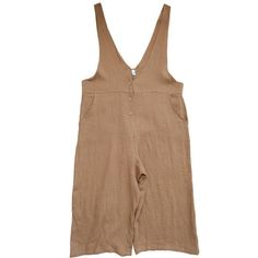 Women Leisure Cotton Jumpsuits Linen Overalls Wide Leg Pants Loose... ($69) ❤ liked on Polyvore featuring jumpsuits, plus size jumpsuits, beige overalls, beige jumpsuit, loose fit jumpsuit and cotton overalls
