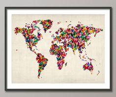 Butterfly World Map Art