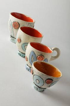 Handmade ceramic cups with bright glaze by WendyJohnsonCeramics, £18.00