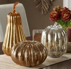 3pc Mercury Glass Pumpkin Set at Gettington