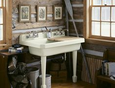 Kohler Harborview Utility Sink- Four Hole Faucet Drillings - fun facts drunk photos she wolf photos Kohler Bathroom, Primitive Bathrooms, Wall Mounted Sink, Modern Bathroom, Bathroom Ideas, Bathroom Stuff, Attic Bathroom, Design Bathroom, Washroom
