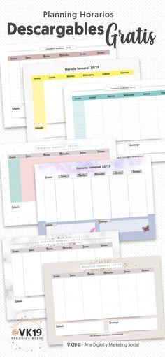 ▷ Horario semanal 2018-2019【Planning Descargable Gratis】 Study Planner, Planner Pages, Weekly Planner, Bullet Journal School, Bullet Journal Inspo, School Organization, Planner Organization, Diy Agenda, Journal Writing Prompts