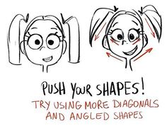 Reposting an old Quick Tip Monday! Happy Monday everyone! . Quick Tip Monday - push your shapes. Using more angular lines and diagonals can add a lot more personality to your drawings! Ready for tips season 2? Sign up here daniellepioli.com (link in bio)