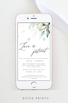 Electronic Wedding Date Postpone, Greenery Wedding Postponement, Wedding Save the New Date, Wedding Postponed, Wedding Postpone Template Bachelorette Party Invitations, Bridal Shower Invitations, Electronic Save The Date, Wedding Templates, Wedding Announcements, Digital Invitations, As You Like, Greenery, Stationery