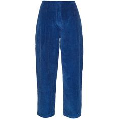 Acne Studios Murol corduroy cropped trousers ($341) ❤ liked on Polyvore featuring pants, capris, trousers, acne, delete, blue multi, retro pants, high waisted trousers, blue high waisted pants and high rise pants