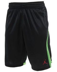 Nike Jordan Knit Short Mens 695448-011 Black Green Basketball Shorts Size 2XL