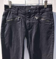 Club Monaco Black Super Skinny Low Rise Jeans w/ Zipper Detail-Size 0 Inseam 30 #ClubMonaco #SuperSkinny