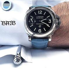 A great way to start the week with the on a light blue strap from # cufflinks Panerai 111, Panerai Watches, Nice Watches, Sport Watches, Watches For Men, Luxe Life, Men Watch, Clocks, Light Blue