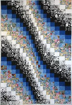 "Blues Black White Descending Bargello Quilt Top 33.5"" X 49.5"""
