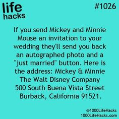 #Disney lovers and scrap bookers, don't pass up the chance to get an autographed photo and just married button from Mickey and Minnie mouse. Imagine looking at this years later with your children and grandchildren.