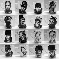 Rap Mugs - Hand Painted. $25 by Rose and Cons #etsy #mugs #rap #snoop #tupac