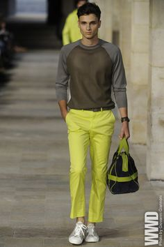 Hermès Men's RTW Spring 2013  Designer Veronique Nichanian gave haute materials off-duty airs for spring, sending out a plethora of sporty silhouettes in unexpected fabrics. Think zippered parkas in chiffon calfskin; T-shirts in perforated leather; and sweaters inset with lambskin panels.