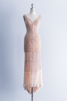 Very Downton Abby!  NEW LISTING Couture Peach Blush Gown by ShopGossamer on Etsy, $1588.00