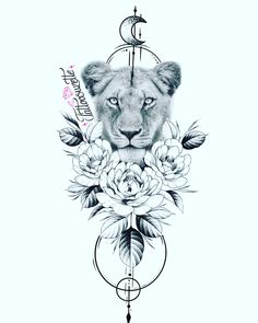 Lion Tattoo With Crown, Lion Tattoo With Flowers, Lion And Lioness Tattoo, Lioness Tattoo Design, Female Lion Tattoo, Red Flower Tattoos, Lion Flower, Red Ink Tattoos, Baby Tattoos