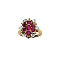 Ruby Star Ring with Diamonds Star Ring, Rare Antique, Diamonds, Jewels, Antiques, Rings, Red, Antiquities, Antique