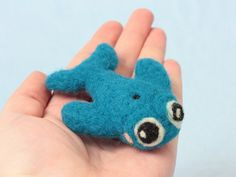 Needle felted blue whale collectible, handmade in the UK from 100% wool.  This blue whale is really rather adorable, with his large cartoon style