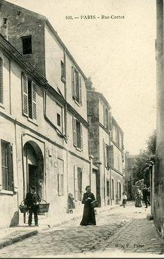 rue Cortot, c. Old Paris, Vintage Paris, Foto Vintage, Paris 1900, Montmartre Paris, Old Pictures, Old Photos, Paris France, Old Photography