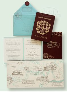 Spend quality time on invitations as these set the tone of the event and allow guests to envision what the wedding will be like. CeciNewYork passport save the date for Margie and Ryan's wedding on Lake Como
