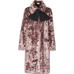 Isa Arfen Crushed-velvet coat ($1,410) ❤ liked on Polyvore featuring outerwear, coats, jackets, neck ties and neck-tie