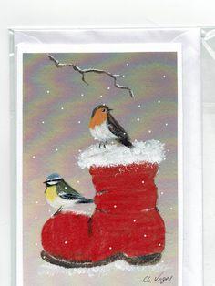 Grüße - Grußkarte - Nikolausstiefel, handgemalt - ein Designerstück von Vogelmalerin bei DaWanda