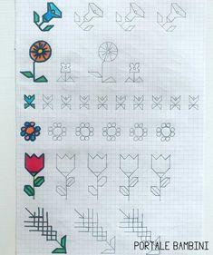 Cornicette per Bambini e per la Scuola Primaria   Portale Bambini #frames #cornicette #school #schoolsupplies #flowers Graph Paper Drawings, Graph Paper Art, Doodle Drawings, Easy Drawings, Symmetry Worksheets, Sorting Colors, Math Art, Cross Stitch Borders, Zentangle Patterns