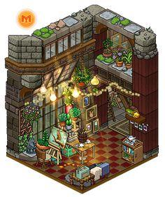 Cozy hobby room by Cutiezor on DeviantArt Isometric Art, Isometric Design, Fantasy House, Fantasy Art, Habbo Pixel, Arte Alien, Pixel Art Games, Hobbies To Try, Building Art