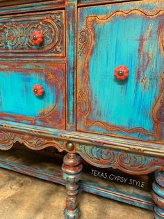 buffet SOLD If you LOVE the Deep Blue Ocean like I do.then you will LOVE this Piece! This piece now lives and breathes like the waves in the deep blue. It features a deep Royal Purple wh Funky Painted Furniture, Chalk Paint Furniture, Refurbished Furniture, Repurposed Furniture, Shabby Chic Furniture, Furniture Projects, Diy Furniture, Turquoise Furniture, Furniture Market