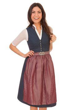 Marjo Damen Midi Dirndl Trachten Kleid Cremona dunkelblau 65cm 2tlg Oktoberfest