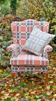 Re-upholstered in Welsh tapestry blanket