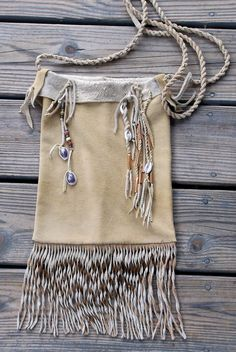 Large Fringed Deer Skin Cross Body Pouch Mountain Man by misstudy, $93.00