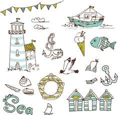 Download Sea Doodles Stock Image and other stock images, photos, icons, vectors, backgrounds, textures and more.