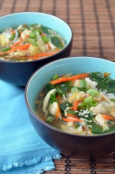 Asian Chicken Rice Soup - Katie's Cucina This looks so good. Soup Recipes, Cooking Recipes, Cooking Ideas, Food Ideas, Dinner Recipes, Asian Recipes, Healthy Recipes, Easy Recipes, Gourmet
