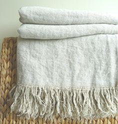 Vintage linen blanket natural & white by LINENstep on Etsy, $88.00