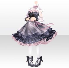 Manga Clothes, Drawing Anime Clothes, Dress Drawing, Komplette Outfits, Anime Outfits, Fashion Outfits, Cute Fashion, Fashion Art, Anime Dress